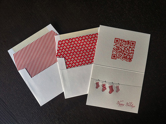 Holiday card with audio qr code printed on it